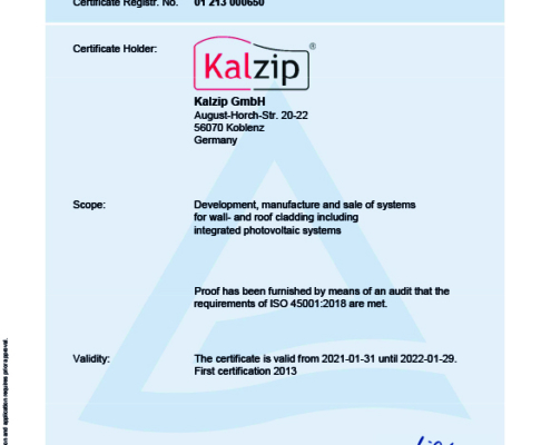 Kalzip is certificated with the ISO 45001:2018