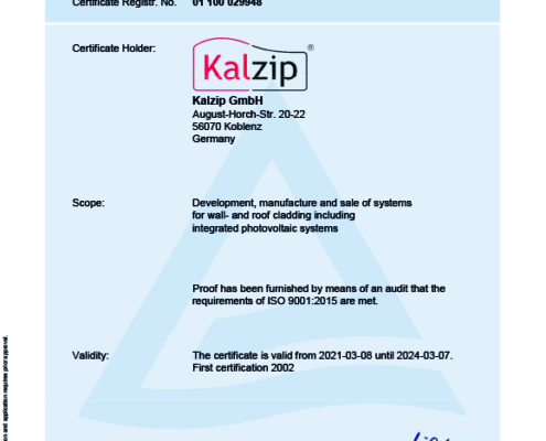 Kalzip is certificated with the ISO 9001:2015