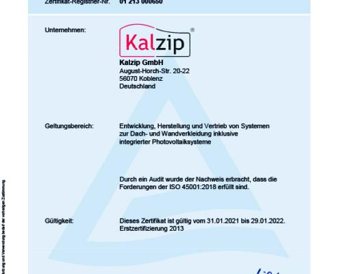 Kalzip ist zertifiziert mit der ISO 45001:2018